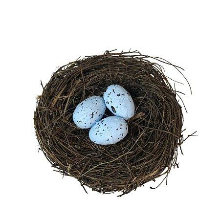 Ninho Marrom com Ovos Azul 10cm