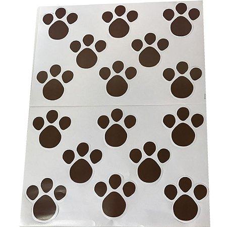 Cartela Adesiva Pegadas Marrom G Pacote com 16 Unidades