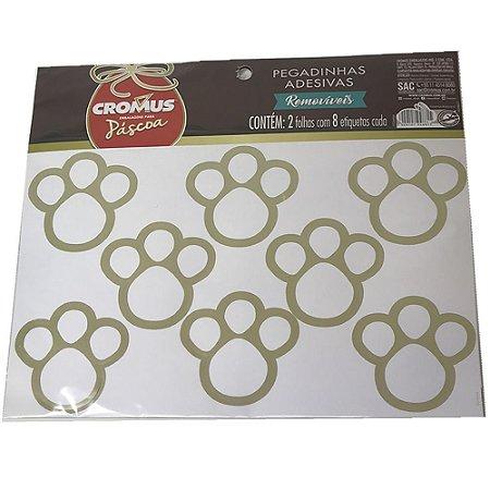 Cartela Adesiva Pegadas Branco G Pacote com 16 Unidades
