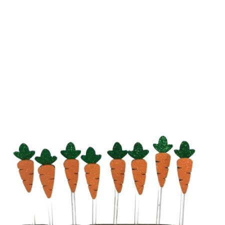 Palito Decorativo Páscoa Cenoura Eva Glitter 5 cm com 8 Unidades