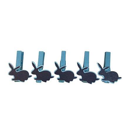 Prendedor Coelhinho com 12 Unidades Azul 5X3,5 cm