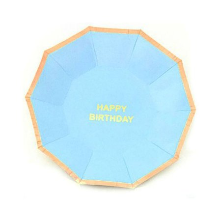 Prato de Papel Happy Birthday Azul Bebe