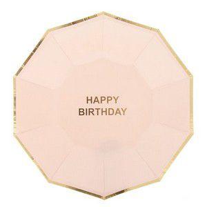 Prato de Papel Happy Birthday Rosa Bebe