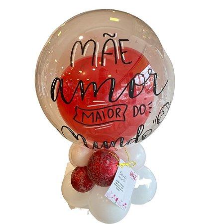Base Especial De Coração Com Bubble - Mãe Amor Maior do Mundo