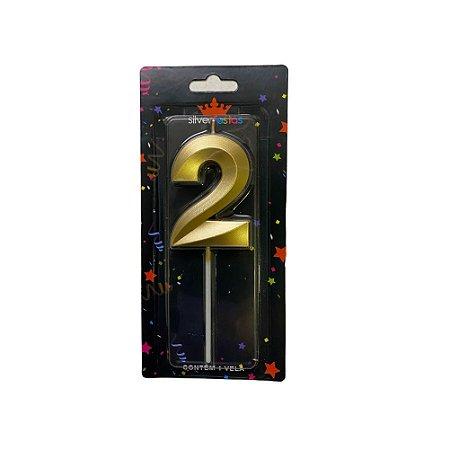 Vela Design Dourada Numero 2