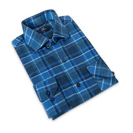 Camisa Flanela Manga Longa Masculina Xadrez Azul