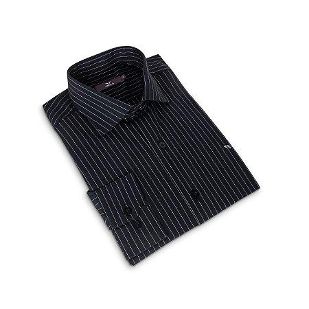 Camisa Regular Masculina Preta com listras/Colarinho Italiano