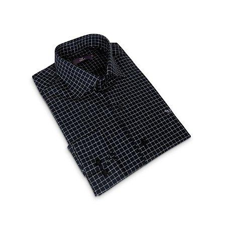 Camisa Regular Masculina Azul marinho Xadrez/Colarinho Italiano