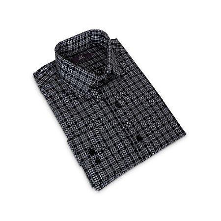 Camisa Regular Masculina Cinza Xadrez/Colarinho Italiano