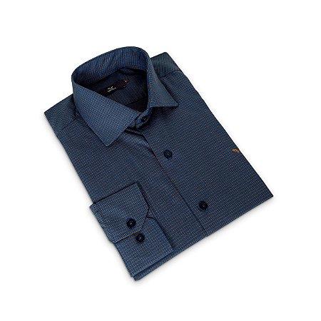 Camisa Regular Masculina Azul /Colarinho Italiano