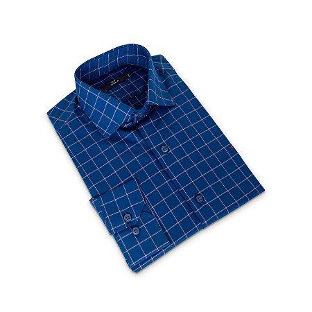 Camisa Regular Masculina Azul com listras/Colarinho Italiano