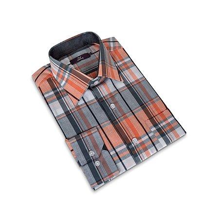 Camisa Regular Masculina/Colarinho Italiano