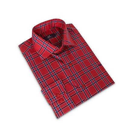 Camisa Regular Masculina Vermelho Xadrez/Colarinho Italiano