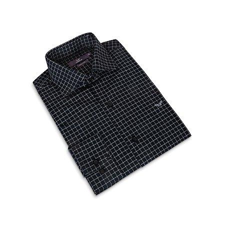 Camisa Slim Masculina Preta Xadrez/Colarinho Italiano