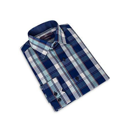 Camisa Slim Masculina Azul Xadrez/Colarinho Italiano