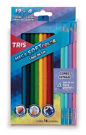Lapis de cor Mega Soft Color Tris 12 cores + 4 cores pastel