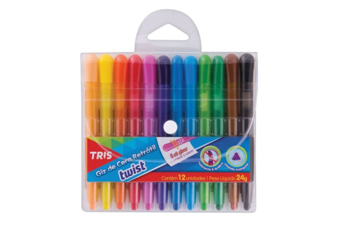Giz de cera retrátil Twist Tris 12 cores