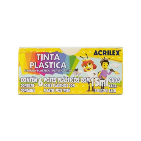 Tinta plástica 15ml Acrilex 6 cores