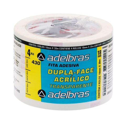 Fita dupla face Acrílico transparente Adelbras 18x30 (unidade)