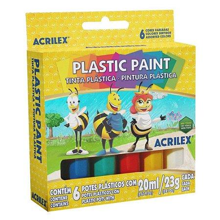 Plastic Paint 20ml Acrilex 6 cores