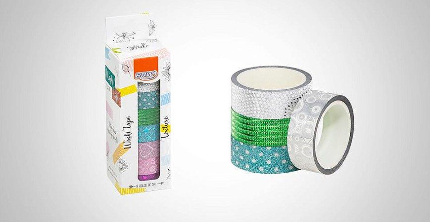 Fita adesiva Washi Tape Texture BRW 8 unidades