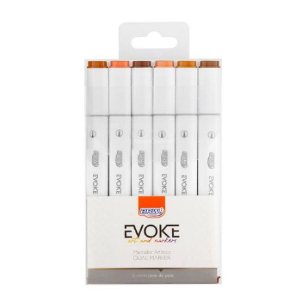 Marcador Artístico Evoke Tons de Pele Dual Marker BRW 6 cores