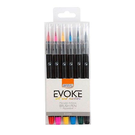 Marcador Brush Pen Aquarelável Evoke Tons Básicos BRW 6 cores