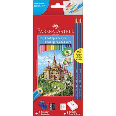 Kit escolar Lapis de cor Faber Castell 12 cores