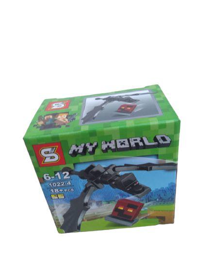 Mini bloco de montar minecraft, 18 peças.  Coleção My World