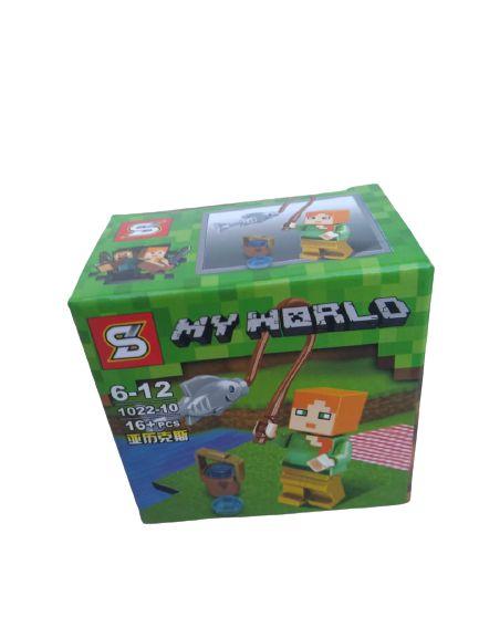 Mini bloco de montar minecraft, 16 peças.  Coleção My World
