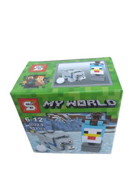 Mini bloco de montar minecraft, 15 peças.  Coleção My World