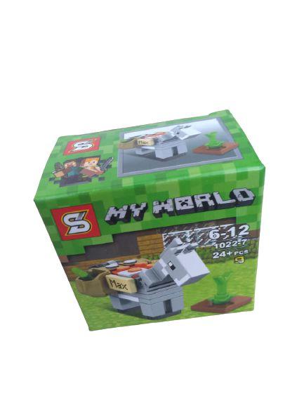 Mini bloco de montar minecraft, 24 peças.  Coleção My World