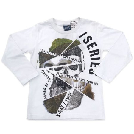 Camiseta Menino em Malha Caveira Mosaico - Passagem Secreta