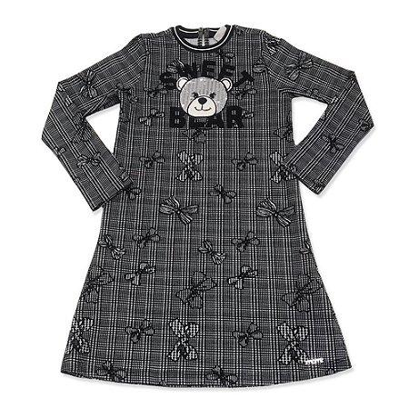 Vestido Infantil  Cinza Menina  Cara de Urso - Momi