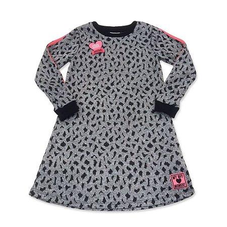 Vestido Infantil Jacquard Onça Cinza Menina  - Momi