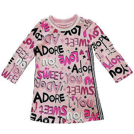 Vestido Infantil T-Dress Estampado Letrinhas - Momi