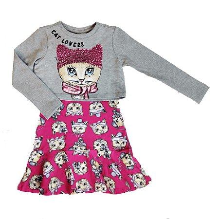 Vestido Infantil Cotton Estampado Pink com Blusa Moletom - Momi