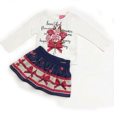 Conjunto Infantil Saia com Short e Blusa Laço - Momi