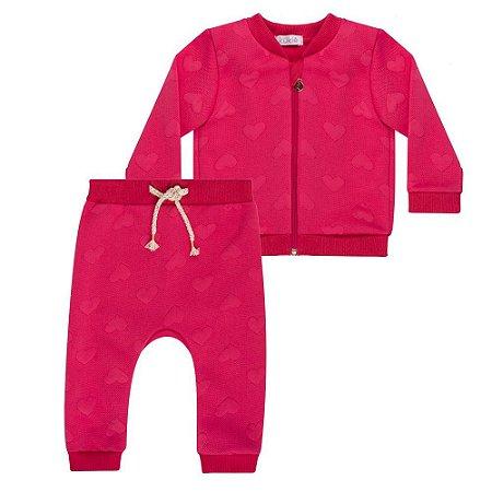 Conjunto Infantil  Jaqueta e Calça Corações - Kukiê