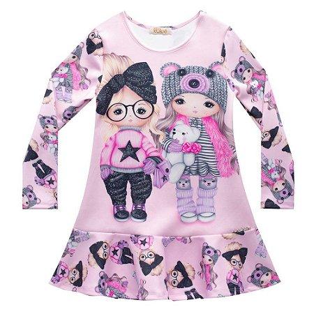 Vestido Infantil Neoprene Estampado Bonecas - Kukiê