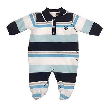Macacão Infantil Menino Algodão Listras - Noruega Baby