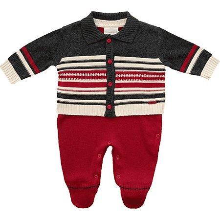 Macacão Infantil de Tricot Vermelho e Marinho com Cardigan - Noruega Baby