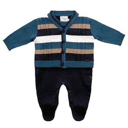 Conjunto Infantil Tricot Macacão e Casaco Marinho e Azul Listras Grandes - Noruega Baby