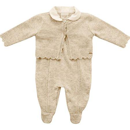 Macacão Infantil de Tricot Casaquinho Fios Dourados Bege - Noruega Baby