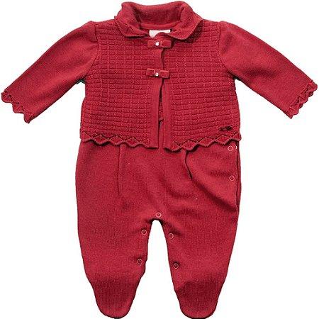 Macacão Infantil Feminino Vermelho com Bolero de Tricot - Noruega Baby