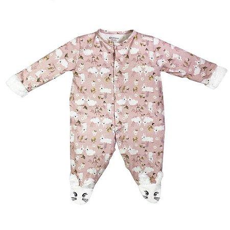 Macacão Infantil Feminino Estampado Coelhinhas Rosa - Grow Up