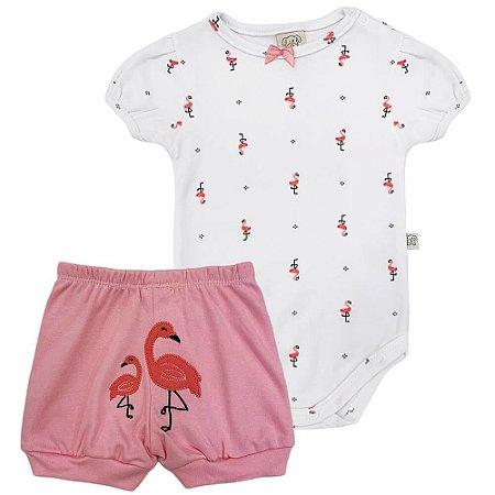 Conjunto Body e Short Bordado Flamingo - Pingo Lelê