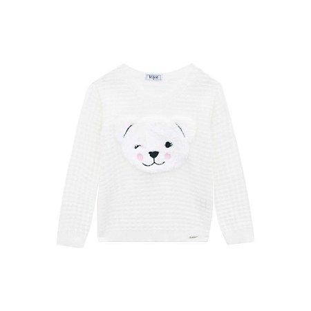 Blusa Infantil Feminina Tricot Urso pelinho - Kukiê