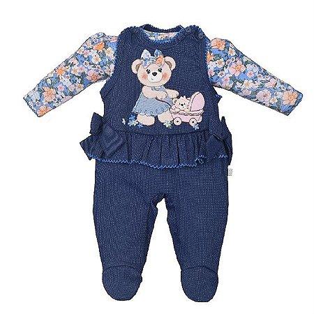 Jardineira Infantil Feminino com Body Ursa Carine - Upi Uli