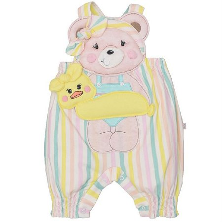 Macacão Infantil Feminino Listras Ursa Jessica - Upi Uli